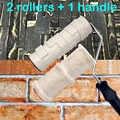 2 個ペイントローラー装飾パターン化された壁画ツールゴム保護スタンプポリウレタン質感陶器ホイール