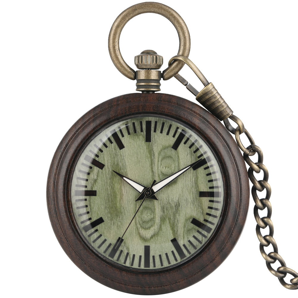 Portable Ebony Case Pocket Watch Women Special Green Dial Clock Utility Bronze Rough Chain Pendant Watches Montre De Poche