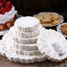 250PCs Lace Doilies Paper Napkin Round 9.5inch 24cm White Flower Food Blotting Pads for Baking Snack Cake Fried Barbecue Mats
