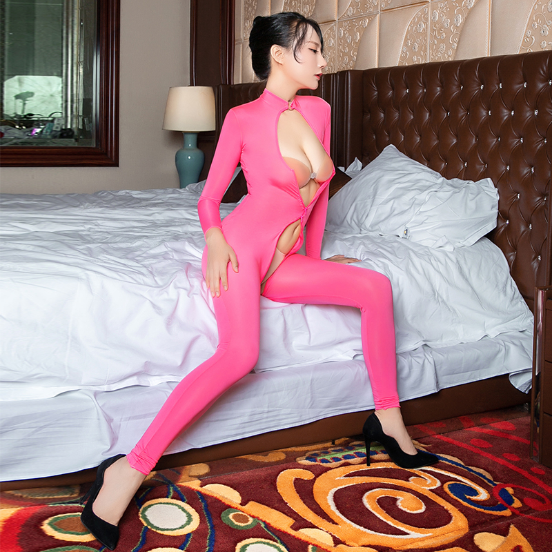 Cat suit Nightclub Costumes Sexy Open Bra Crotchless Full Bodysuits See through Women Choker Necklace Collar Open Cup Jumpsuits