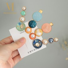 Fashion Hair Clips For Women Acetate Pearl Geometric Hairpins Sweet Girl Astronomical Sphere Barrettes Hairgrip Hair Accessories(China)