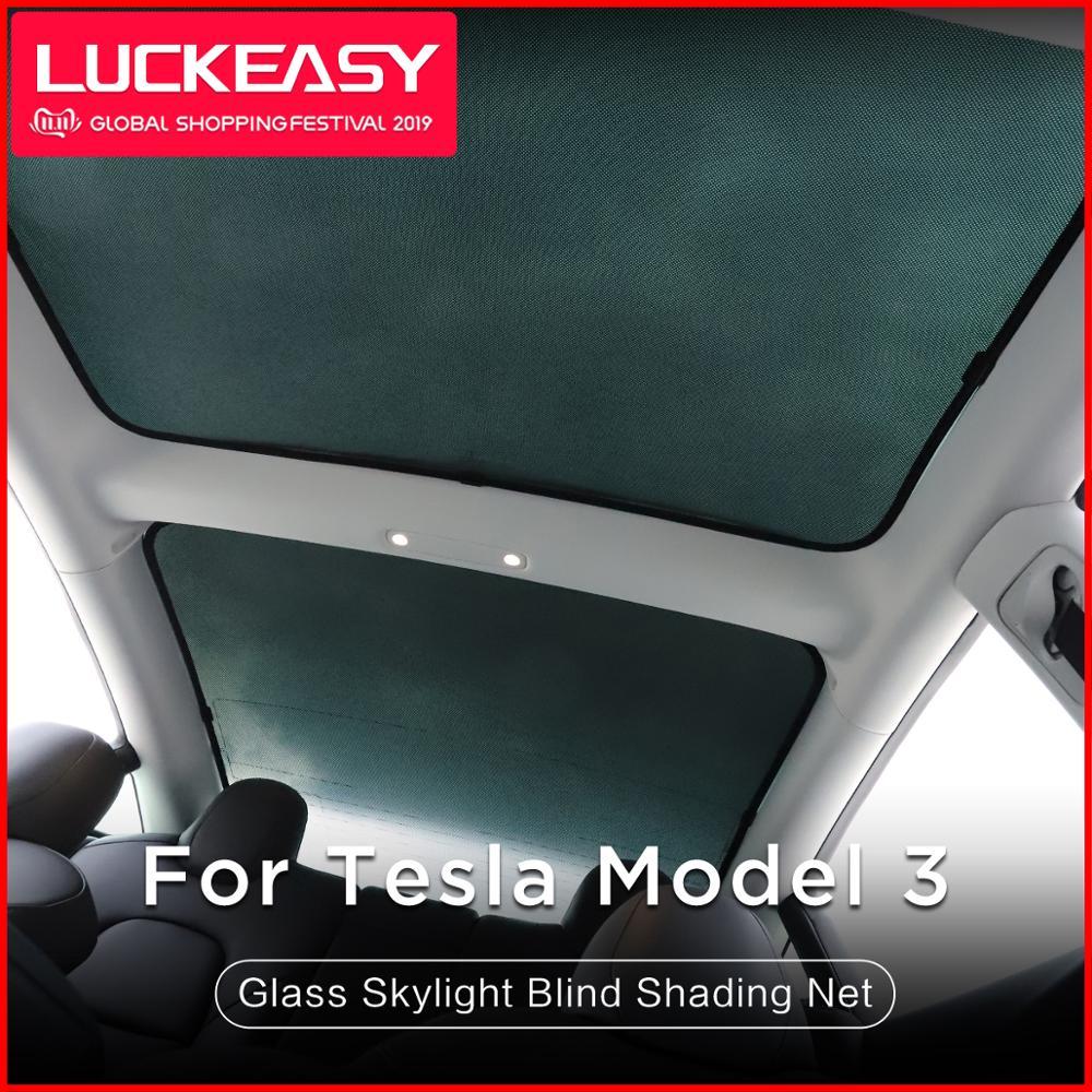 Luckeasy untuk Tesla MODEL 3 Atap Kaca Kerai Mobil Skylight Blind Shading Net