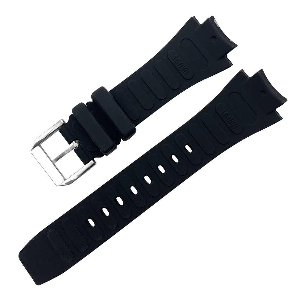26x16mm saat kayışı için IWC Aquatimer yedek kayış IW354807 bilezik erkekler için siyah Silionce kauçuk kemer Pin toka masculino