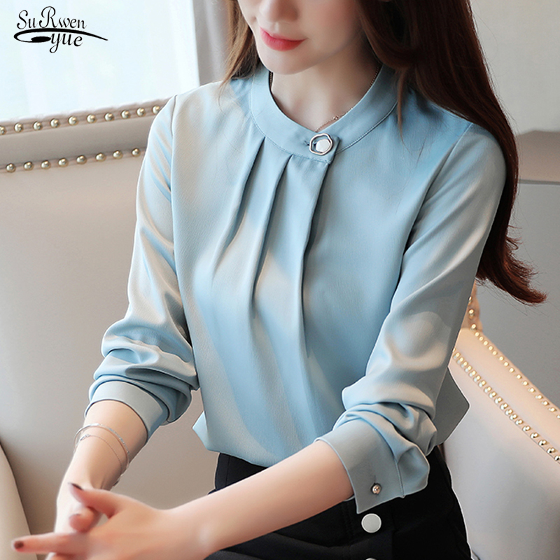 Camisas Mujer New 2019 Autumn Long Sleeve Solid Blouse Women Shirt Tops OL Vintage O Neck Pullover Women Blouse Clothes 7161 50
