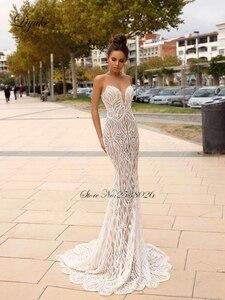 Image 2 - Liyuke Scoop dekolt 2 w 1 suknia ślubna syrenka delikatna koronka z odpinaną spódnica z tiulu suknia ślubna