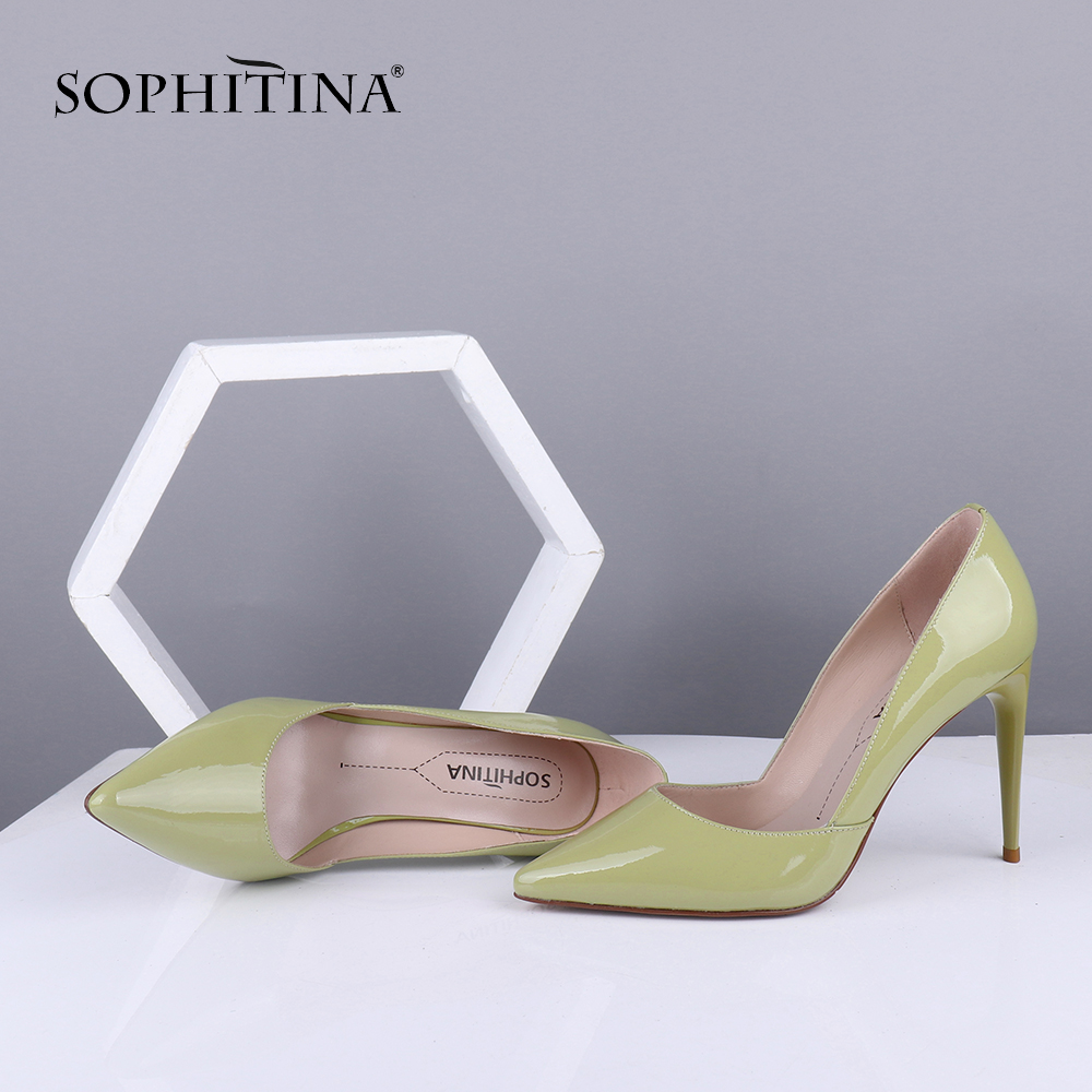 SOPHITINA Office Women's New Pumps Pointed Toe Thin Heels High Solid Mature Fashionable Shoes Patent Leather Casual Pumps SC677