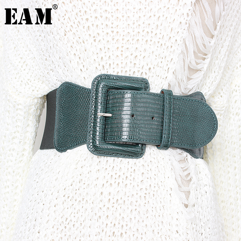 [EAM]  Pu Leather Multicolor Big Buckle Long Wide Belt Personality Women New Fashion Tide All-match Spring Autumn 2020 1D181