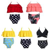 2pcs/set Summer Infant Baby Swimwear Clothes Girls Straps Solid Tops Polka Dot Briefs Kid Girls Swimsuit Bikini Set