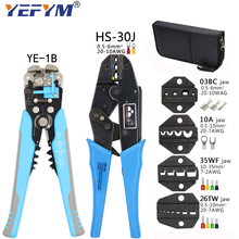 Crimping Pliers HS 30J Pulg Terminals Tools Kit Wire Stripper Combination Multi Functional Mini YEFYM Carbon Steel Electrical