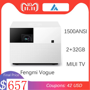 Original Xiaomi Fengmi Vogue Projector TV 1080P 1500ANSI Lumens 2GB+32GB Home Theater Support Side Projection DTS and DOBLY