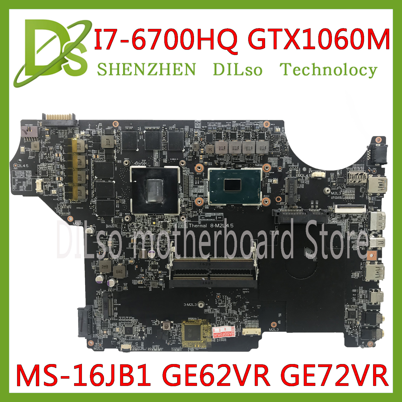 KEFU MS-16JB1 motherboard for MSI GE62VR GE72VR notebook motherboard CPU <font><b>i7</b></font> <font><b>6700HQ</b></font> GPU GTX1060M-6GB DDR4 100% Tested original image
