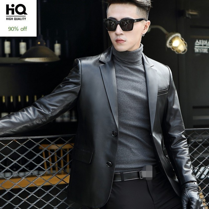 Brand Black Genuine Leather Blazer Men Business Autumn Slim Sheepskin Coat Plus Size 5XL Fashion 2020 Long Sleeve Suit Jacket