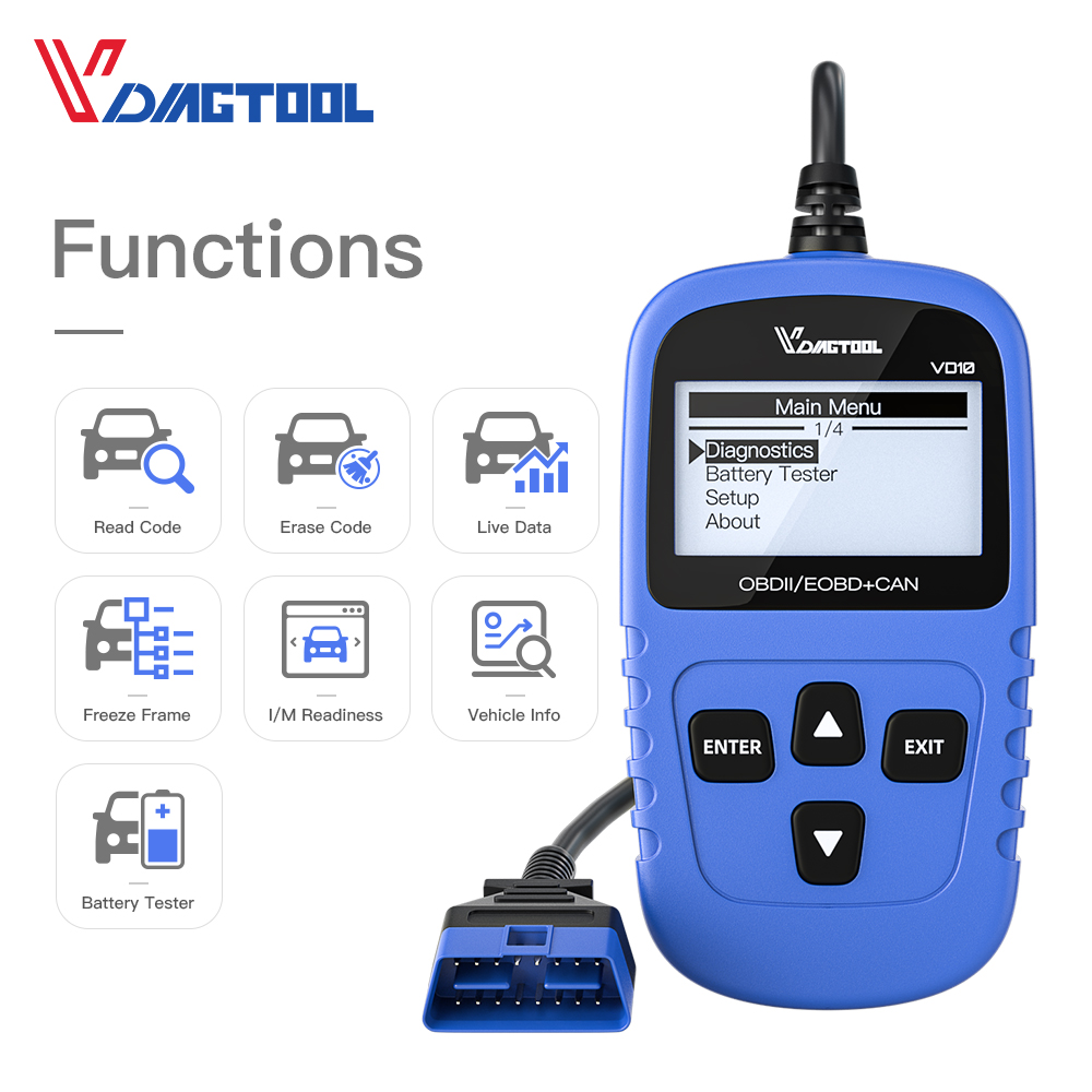 VDIAGTOOL VD10 OBDII/OBD2 Code Reader Scanner EOBD Auto Diagnostic Tool Read Fault Code With Multi-language Car Scanner