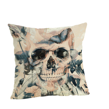 Lychee DIY Fashion Skull Series Pillow Cases Colorful Linen 45x45cm For Bedroom Home Office
