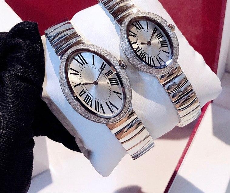 Nouveau haut tendance qualité bain design montre femmes hommes couple horloge en acier inoxydable cristal baignoire montre de luxe marque accessoires