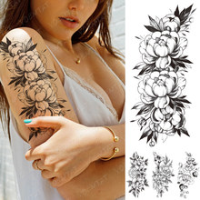 Waterproof Temporary Tattoo Sticker Peony Plum Blossom Flower Black Flash Tattoos Female Minimalist Line Body Art Fake Tatto(China)