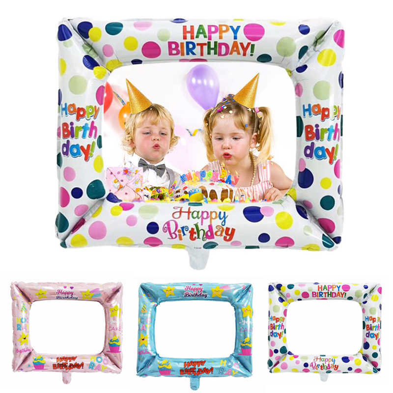 Birthday Photo Booth Foil Balloons Happy Birthday Balloon Photo Frame Photo Props Birthday Party Decorations Inflatable Toys Ballons Accessories Aliexpress