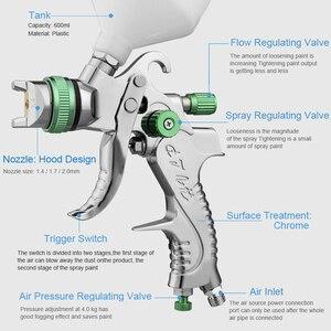 Image 2 - Professional สเปรย์ HVLP Paint Gun Kit 600ML 1.4/1.7/2.0mm หัวฉีดแรงโน้มถ่วงนิวเมติก Paint Sprayers สำหรับรถชุดซ่อมเครื่องมือ