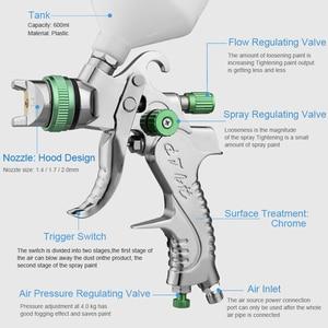 Image 2 - Professionale HVLP pistola A Spruzzo della Vernice della Pistola Kit 600ML 1.4/1.7/2.0 millimetri Ugello di Gravità Pneumatico Vernice Nebulizzatori Per auto Kit di Strumenti di Riparazione