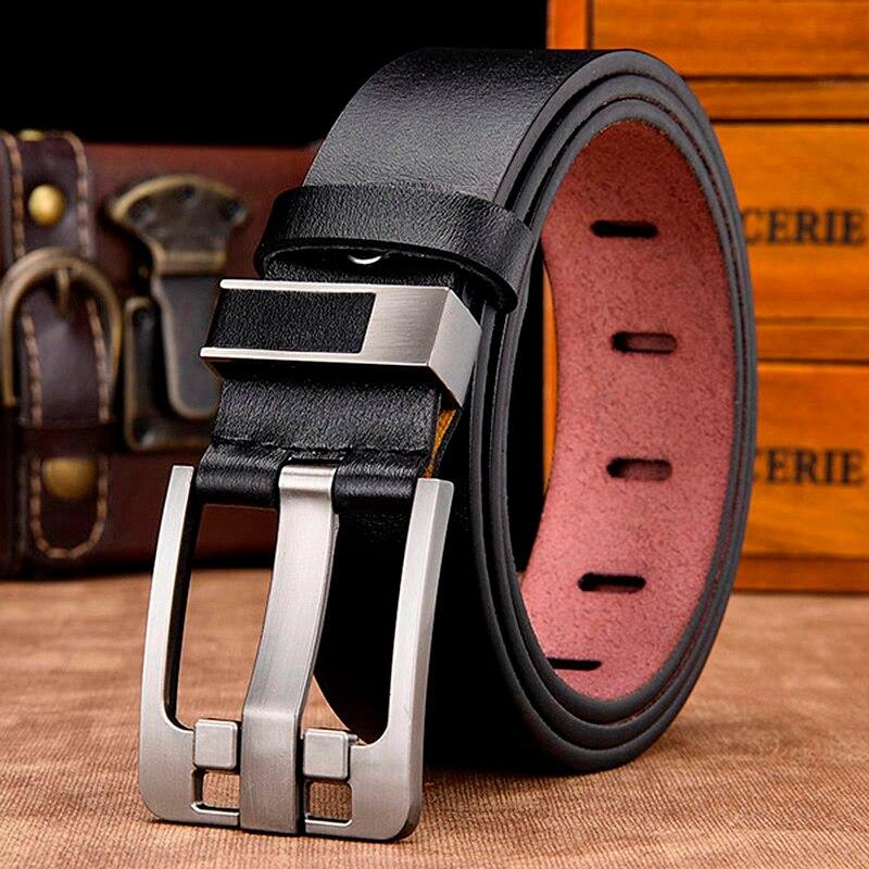 [LFMB] cintura in pelle maschile degli uomini della cinghia maschio cinturino in vera pelle di lusso cinture fibbia ad ardiglione per gli uomini della cinghia Cummerbunds ceinture homme