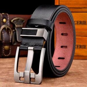 Image 1 - [LFMB] חגורת זכר עור חגורת גברים רצועת זכר עור אמיתי יוקרה פין אבזם חגורות גברים חגורת אבנטים ceinture homme