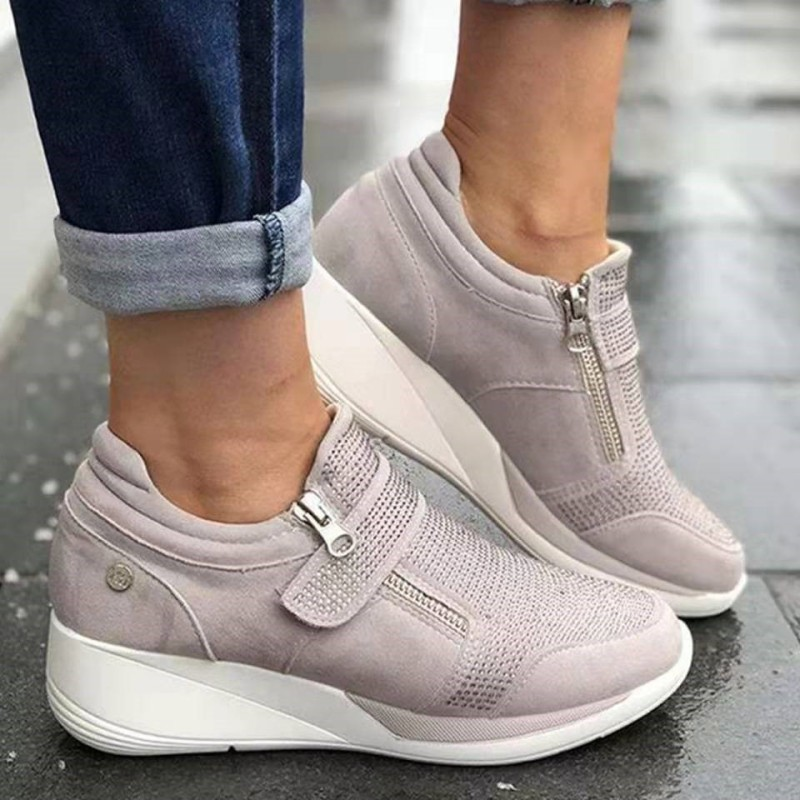KAMUCC Woman Wedge Sneaker Women Casual Shoes Breathable Women Non-slip PU Leather Increased Shake Shoes Sneakers Size 35-43