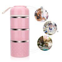 Lonchera de acero inoxidable contenedores de almacenamiento de alimentos a prueba de fugas con lonchera aislada para adultos y oficina tres pisos (rosa)