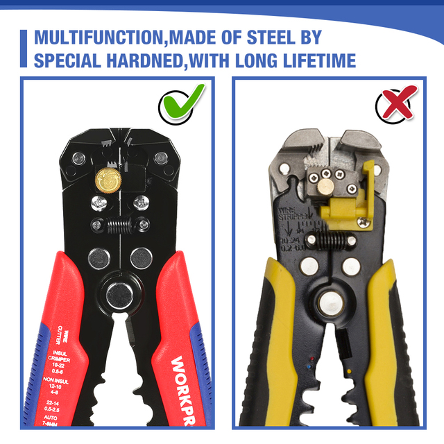 WORKPRO Crimper Cable Cutter Automatic Wire Stripper Multifunctional Stripping Tools Crimping Pliers Terminal 6