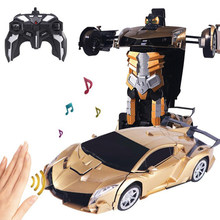 RC Car Toy 2.4Ghz Induction Transformation Robots Sports Vehicle Deformation Electric Remote-controlled Cars Toys for Kids Y158(China)
