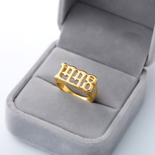 Personalized Number Rings Custom Fashion Name Jewelery Stainless Steel Ring Pendant Gold Sliver Anillo