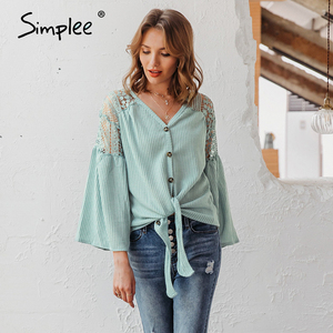Image 5 - Simplee Sexy v neck women blouse Elegant lace embroidery hollow out loose sleeve office tops Lace up autumn female blouse shirts
