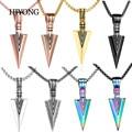 HIYONG Simple Arrow Necklace Titanium Steel Arrow Pendant Stainless Steel Retro Necklace For Men Neck Chains Accessories