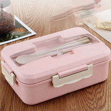 Lunch Box Food Container Bento Box Heated Lunchbox Kids Lunchbox Snack Straw Wheat Korean Sealed Student Plastic Box for Food feigo 1pcs hamburger burger shape bento box lunch box for kids food container lunchbox plastic kitchen food novelty picnic f488