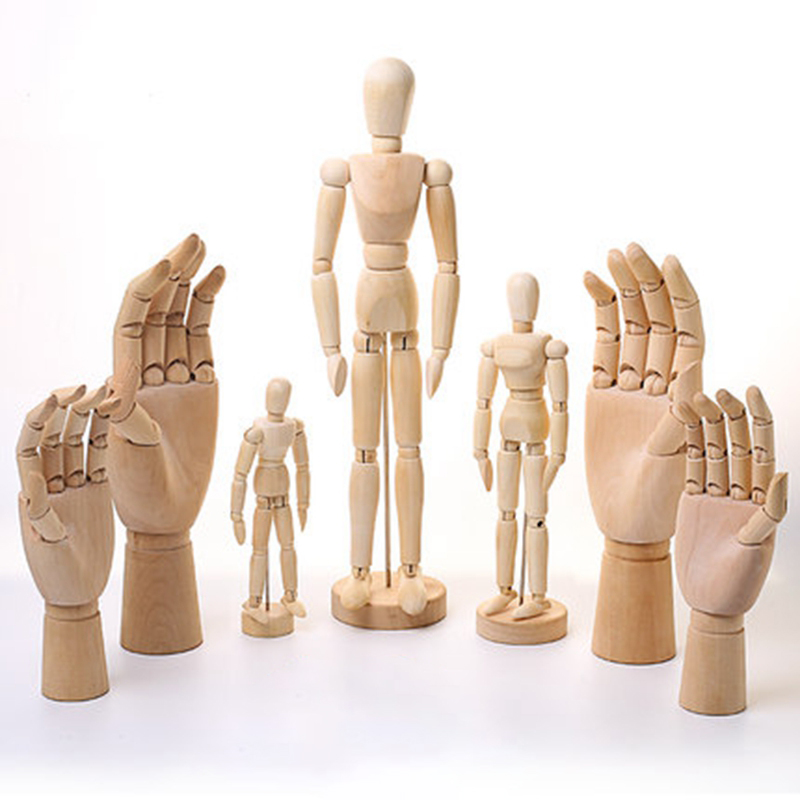 Mannequin Puppet Movable Joint Wood Decorative Model Man 4.33/5.5/6/8/12/16 Inch Artist Action Figure Prop Manikin Ornament