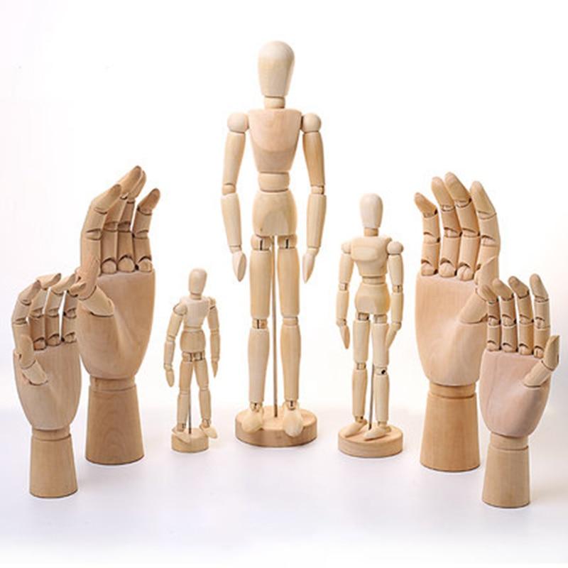 Mannequin Puppet Movable Joint Wood Decorative Model Man 4.33/5.5/6/8/12/16 Inch Artist Action Figure Prop Manikin Ornament