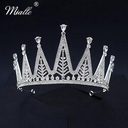 Miallo, модная кристаллическая Корона серебряного цвета, свадебные украшения для волос тиары и короны для женщин, аксессуары, головной убор дл...