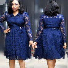 Plus Size African Dresses For Women Long Sleeve Lace Floral Hollow Out Shirt Dress Knee Length Robe Africa Lace Gown Party Dress все цены