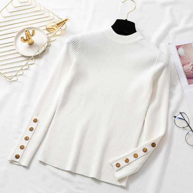 Ailegogo 2020 Stylish Women's Sweaters O-Neck Bottoming Button Knitted Pullover Tops Korean Style Solid Color 1