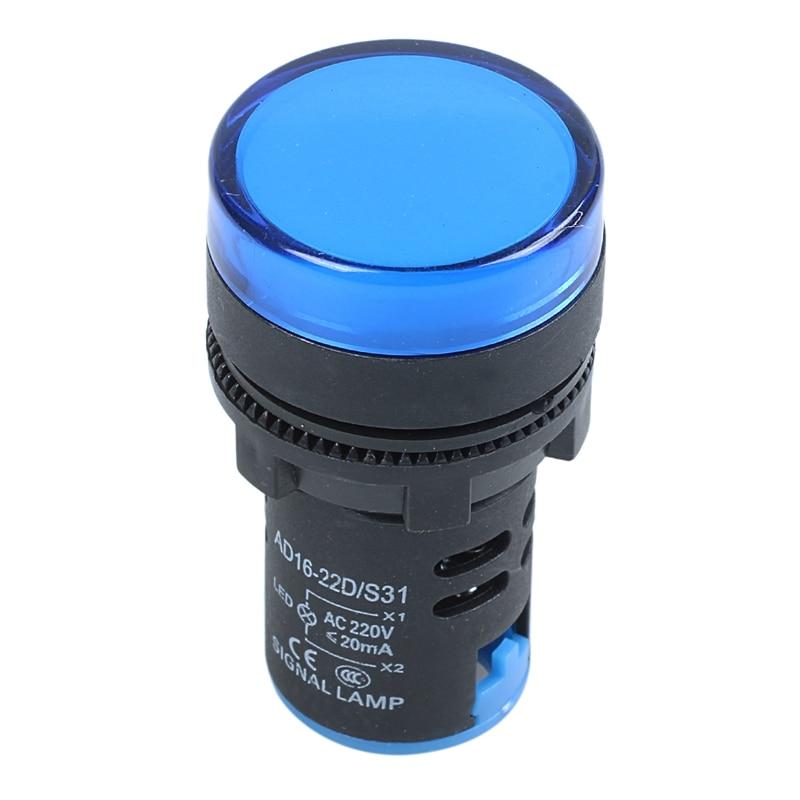 Hot AC 220V LED Pilot Indicator Light Signal Lamp Black Blue