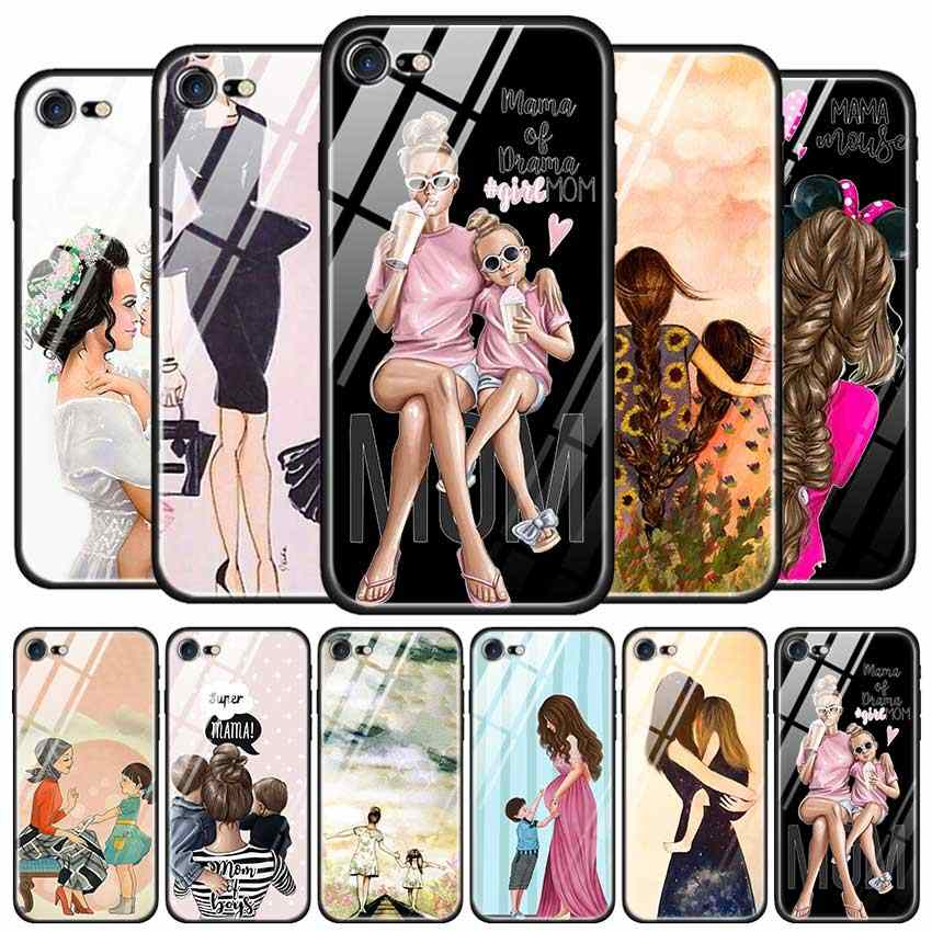 Funda de vidrio templado para Apple iPhone 8 7 6 6S Plus funda para iPhone 11 11Pro XS MAX dibujos animados de madre e hijo XR X