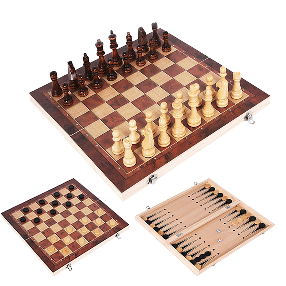 2019 New Design 3 In 1 Wooden Chess Backgammon Checkers Travel Games Chess Set Board Draughts Entertainment Christmas Gift I64