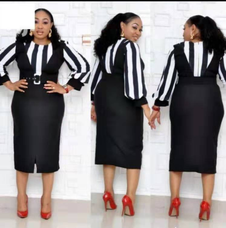 2019 New Summer And Autumn African Women Beauty Plus Size Knee-length Dress L-XXL