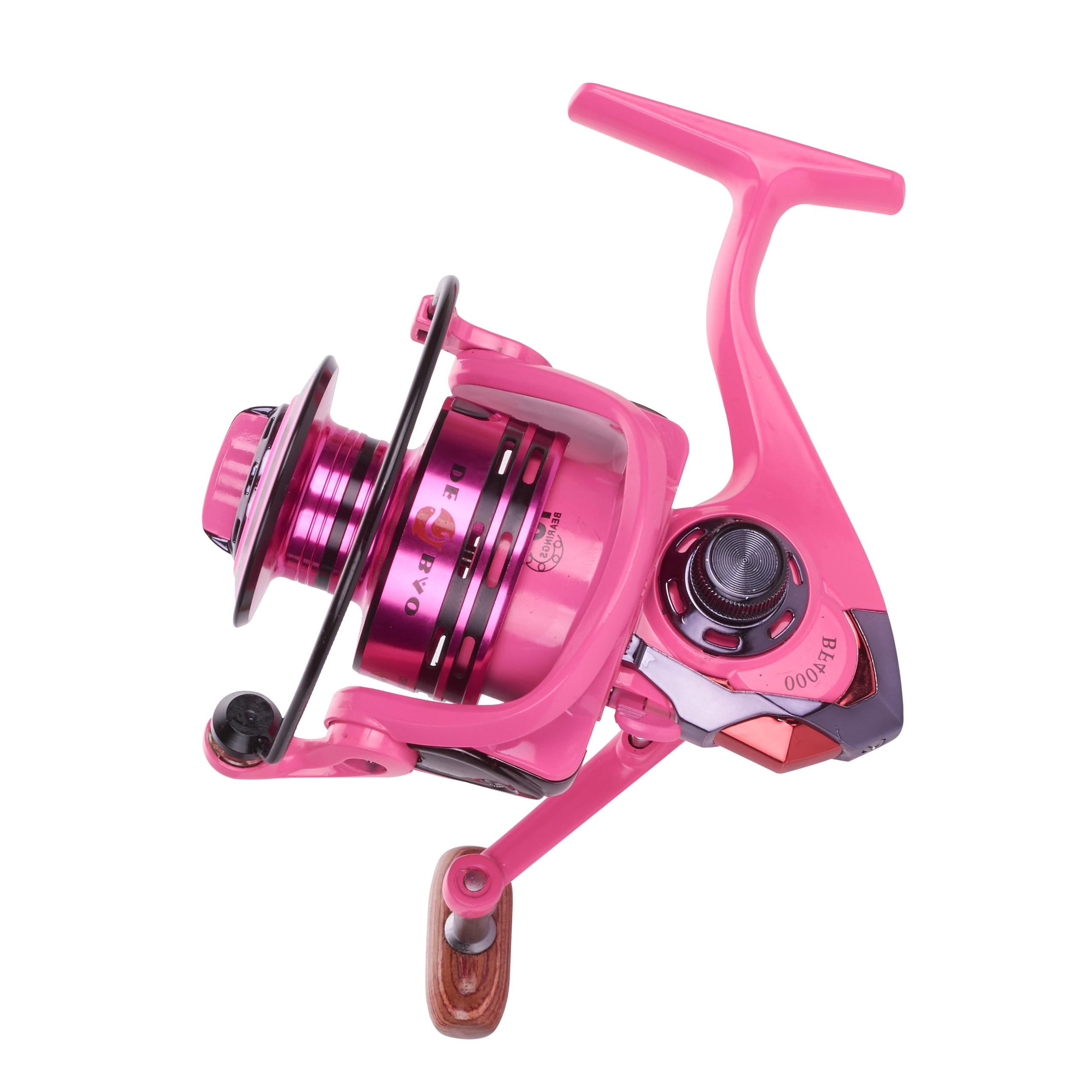 HiUmi Pink/Green 10+1 BB Ratio 5.2:1 Metal Spinning Fishing Reel 2000 3000 4000 5000 Fishing Gear For Freshwater Fishing Pesca