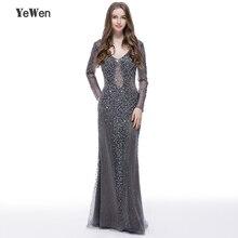 YEWEN Silber grau Formale Abendkleid 2020 Sexy V ausschnitt Edle Frauen Kleider Lange seleeves bodenlangen Party Prom kleider