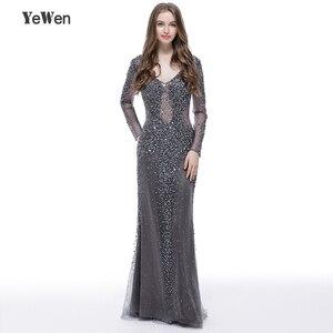 Image 1 - YEWEN argent gris formel robe de soirée 2020 Sexy col en v Noble femmes robes longues seleeves étage longueur fête robes de bal