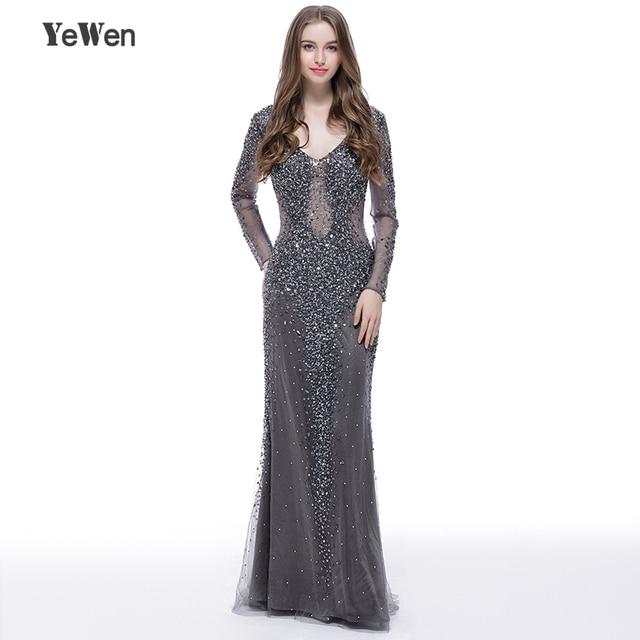 YEWEN argent gris formel robe de soirée 2020 Sexy col en v Noble femmes robes longues seleeves étage longueur fête robes de bal