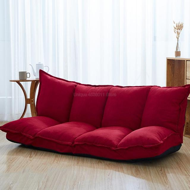Linen Fabric Upholstery Adjustable Floor Sofa Bed Lounge Sofa Bed Floor Lazy Man Couch Living Room Furniture Video Gaming Sofa 4