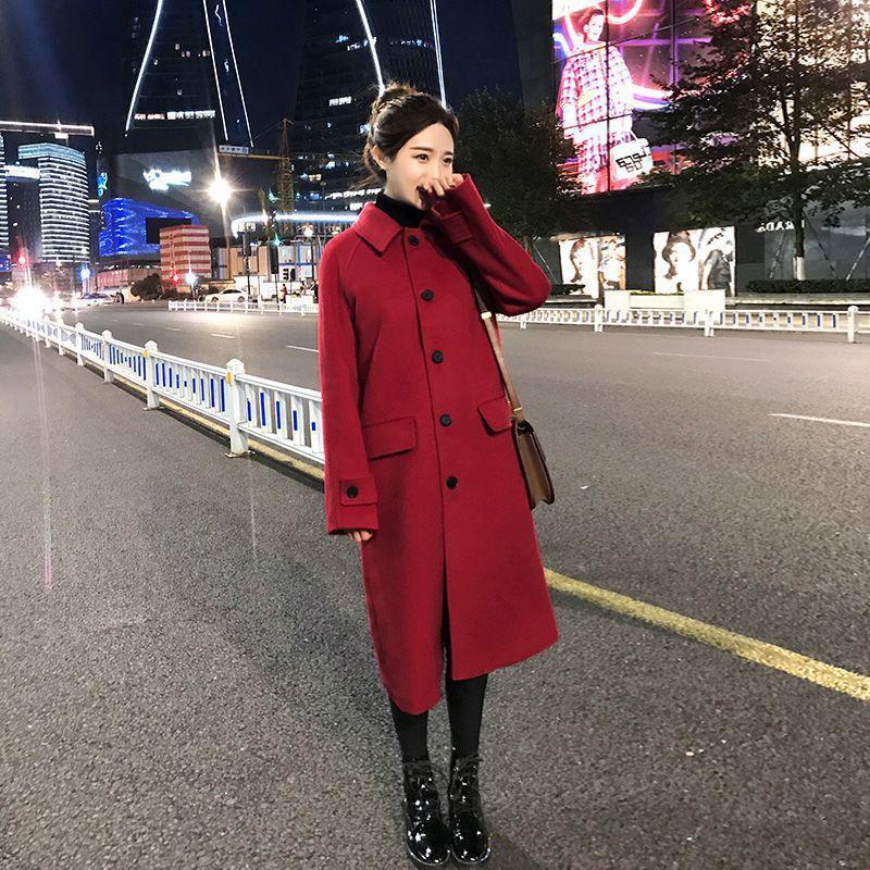 2019 inverno mistura de lã feminino manga longa quente engrossar casaco de lã feminino jaqueta vermelha casual outono inverno elegante casaco yl538 - 4
