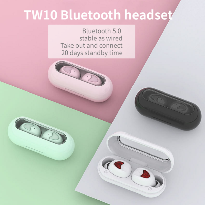 [Ready Stock]TW10 True Wireless Earbuds TWS Bluetooth Earphones Hifi headphones bluetooth  stereo headsets mini sport running