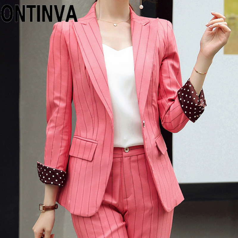 Gray Green Pink Stripe Blazer Two Piece Set Women Office Business Suits Outwear and Full Length Pants Plus Size Autumn Winter